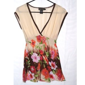 Rampage tan, brown, pink, green, orange floral top